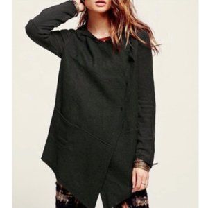Free People Drippy Jacket Asymmetric Black Wool S